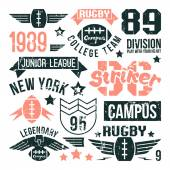 Badges set of the college rugby team — Stock Vector