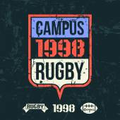 Emblem of the college rugby team — ストックベクタ