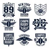College rugby team emblems — ストックベクタ