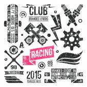 Car racing badges in retro style — Stock Vector