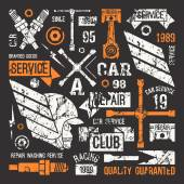Car service badges in retro style — Stock Vector