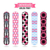 Girlish prints for snowboards — Stock Vector