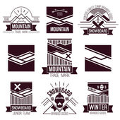 Snowboard and mountains emblems  — 图库矢量图片