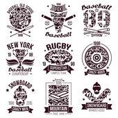 Baseball, rugby, snowboard, skateboard college sport emblems  — Stock vektor