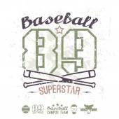 Emblem baseball superstar college team — Stock Vector