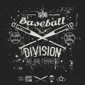College baseball division emblem — Stock Vector