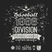 Retro emblem baseball division of college — Stock Vector