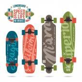 Set of prints on longboard — Vector de stock