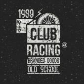 Club de course de moto emblème dans un style rétro — Vecteur