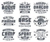 Baseball and rugby college team sport emblems — Vecteur