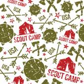 Scout camp seamless patterns — Stock Vector
