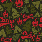 Camping seamless patterns — Stock vektor