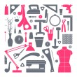 Постер, плакат: Icons set sewing and hobby tools