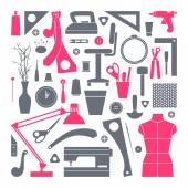 Icons set sewing and hobby tools  — Stock Vector