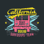 Surfing bus emblem in retro style — Stock Vector