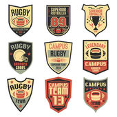 Campus rugby team emblems  — Stock Vector