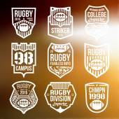 College rugby team emblems — Stock Vector