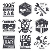 Car races and service badges — Stock Vector