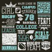 Rugby and baseball college team design elements  — Stock Vector