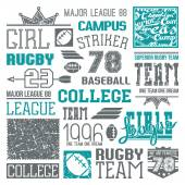 Rugby and baseball team college design elements  — Stock Vector