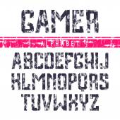 Sans serif font in the sport style — Vector de stock