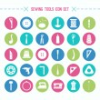 Постер, плакат: Sewing and hobby tools icons set
