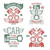 Car engine piston emblems — Stock Vector