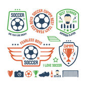 Set of soccer emblems and icons — Stock Vector