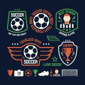 Set of soccer emblems and icons — Vector de stock