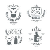 Farm dairy products emblems and icons — Stockvector