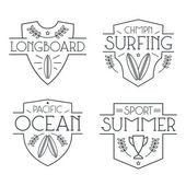 Surfen-Abzeichen und Symbole — Stockvektor