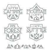Camping badges and icons — Stock Vector