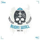 Rugby team skull emblem — Stock Vector