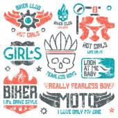 Car and biker masculine badges — Stock Vector