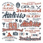 Athletic elements with shabby texture — Stock Vector