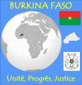 Burkina Faso location emblem motto — Stock Vector