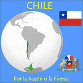 Chile location emblem motto — Stock Vector