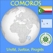 Comoros location emblem motto — Stock Vector
