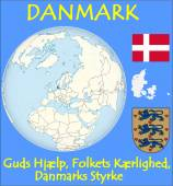 Denmark location emblem motto — Stock Vector