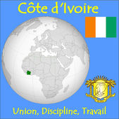 Ivory Coast location emblem motto — Stock Vector