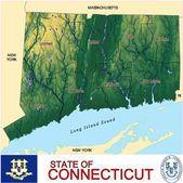 Connecticut counties emblem map — Stock Vector
