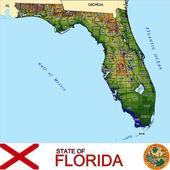 Florida counties emblem map — Stock Vector