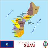 Guam counties emblem map — Stock Vector