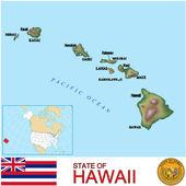 Hawaii counties emblem map — Stock Vector