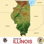 Illinois counties emblem map — Stok Vektör