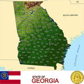 Georgia counties emblem map — Stock Vector