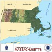 Massachusetts counties emblem map — Stock Vector