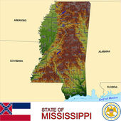 Mississippi counties emblem map — Stock Vector