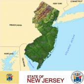 New Jersey counties emblem map — Stock Vector