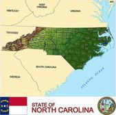 North Carolina counties emblem map — Stock Vector